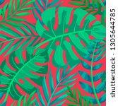 trendy summer tropical leaves... | Shutterstock .eps vector #1305644785
