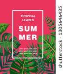 trendy summer tropical leaves... | Shutterstock .eps vector #1305646435