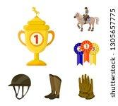 isolated object of horseback... | Shutterstock .eps vector #1305657775