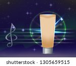 vector template beige glowing... | Shutterstock .eps vector #1305659515