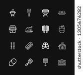 editable 16 grilled icons for... | Shutterstock .eps vector #1305676282