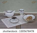 english teacup with saucer ... | Shutterstock . vector #1305678478
