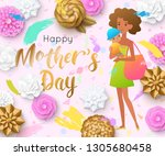 mother's day greeting card with ... | Shutterstock .eps vector #1305680458