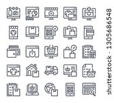 e commerce bold line icon set....