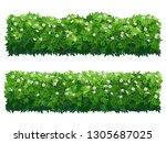 green flowering fence boxwood... | Shutterstock .eps vector #1305687025