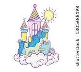 beautiful little unicorn with...   Shutterstock .eps vector #1305688198