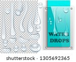 water drops set. 3d realistic...   Shutterstock .eps vector #1305692365