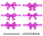 purple  gift  bows set ... | Shutterstock .eps vector #1305698968