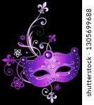 purple mask mardi gras fleur de ... | Shutterstock . vector #1305699688