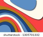 colorful carving art.paper cut... | Shutterstock . vector #1305701332