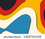 colorful carving art.paper cut... | Shutterstock . vector #1305701335