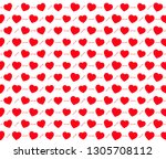 red hearts seamless vector... | Shutterstock .eps vector #1305708112