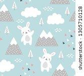 rabbit seamless pattern... | Shutterstock .eps vector #1305710128