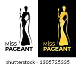 miss pageant logo sign with...   Shutterstock .eps vector #1305725335