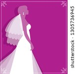 silhouette of young bride in... | Shutterstock .eps vector #1305736945