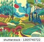 spring landscape with hills ... | Shutterstock .eps vector #1305740722