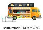 street van with fast food  shop ... | Shutterstock .eps vector #1305742648