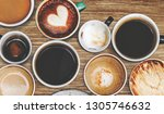 assorted coffee cups on a...   Shutterstock . vector #1305746632