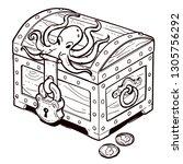 treasure chest. vector... | Shutterstock .eps vector #1305756292