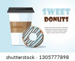 donut and  and take away coffee ... | Shutterstock .eps vector #1305777898
