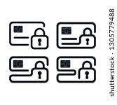 credit card safety  outline...   Shutterstock .eps vector #1305779488