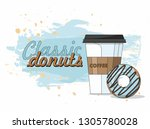 donut and  and take away coffee ... | Shutterstock .eps vector #1305780028