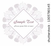 card with flower  leaves and... | Shutterstock .eps vector #1305780145