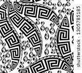 black and white floral greek...   Shutterstock .eps vector #1305785185