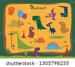 funny cartoon dinosaurs... | Shutterstock .eps vector #1305798235