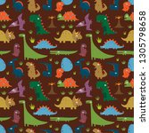 seamless pattern with funny... | Shutterstock .eps vector #1305798658