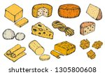 set of hand drawn sketch cheese ... | Shutterstock .eps vector #1305800608
