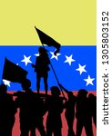 crowd with flag of venezuela on ... | Shutterstock . vector #1305803152