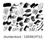 black dry brushstrokes hand... | Shutterstock .eps vector #1305819712