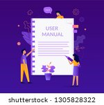user manual concept. people... | Shutterstock .eps vector #1305828322