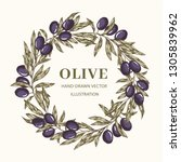 wreath with olive branches   Shutterstock .eps vector #1305839962