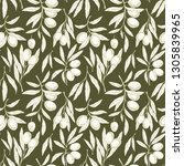seamless pattern with olive...   Shutterstock .eps vector #1305839965
