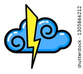 cloud  lightning icon. line art.... | Shutterstock .eps vector #1305866212