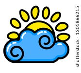sun  cloud icon. line art.... | Shutterstock .eps vector #1305866215