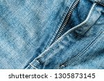 close up view of the blue jeans ... | Shutterstock . vector #1305873145