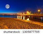 scenic night view with full... | Shutterstock . vector #1305877705