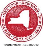 New York USA State Stamp - stock vector