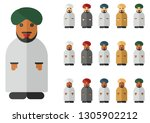 vector set of arab man with... | Shutterstock .eps vector #1305902212