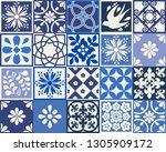 blue portuguese tiles pattern   ... | Shutterstock .eps vector #1305909172
