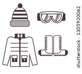 climber clothes icons. outline... | Shutterstock .eps vector #1305920062