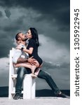 sensual couple kiss. i love you.... | Shutterstock . vector #1305922945