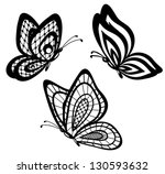 Stock vector set of beautiful black and white guipure lace butterflies many similarities to the author s profile 130593632