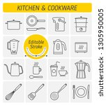 the kitchenware and cookware... | Shutterstock .eps vector #1305950005