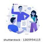 businessmen working together on ... | Shutterstock .eps vector #1305954115