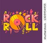 rock n roll cartoon poster...   Shutterstock .eps vector #1305954955