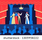 at the theatre   flat design...   Shutterstock .eps vector #1305958222